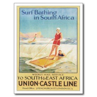 Vintage Africa Surf Bathing Travel Poster Art Postcard