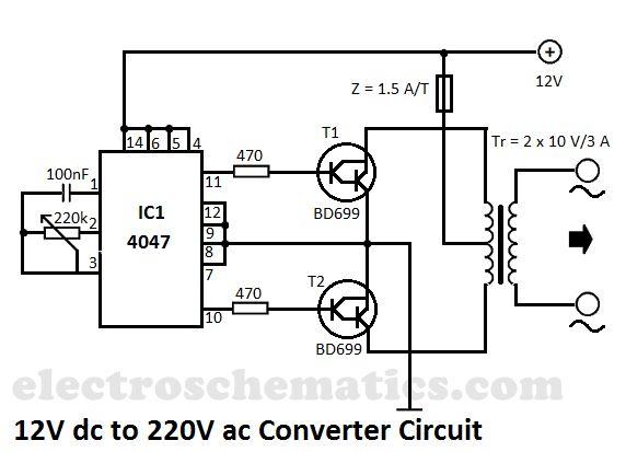 12V to 220V converter circuit