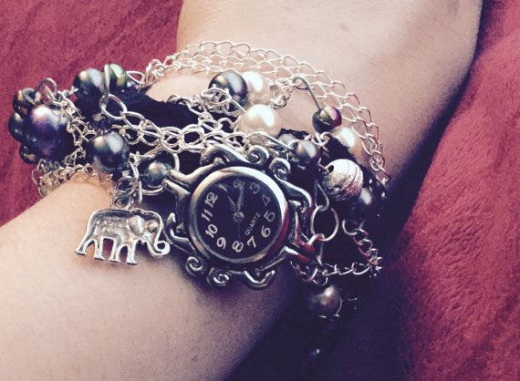 Chunky beaded lace bracelet with watch face by DesignsBySunshineUK
