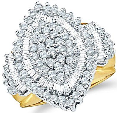 Size - 10.5 - 10k Yellow Gold Large Marquise Shape Center Setting Round Cut & Baguette Engagement or Right Hand Cocktail Diamond Ring 23mm (2.03 cttw) Sonia Jewels. $1189.00