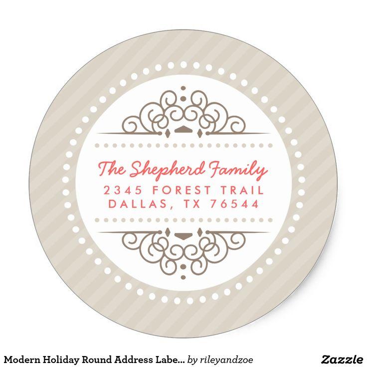 Modern Holiday Round Address Labels