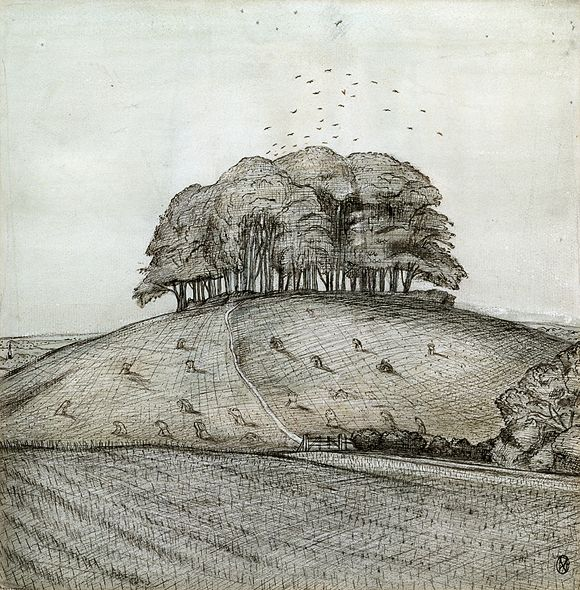 "The Wood on the Hill, 1912, Paul Nash, ink and wash on paper, ""grey hollowed hills crowned by old old trees,"" Oxfordshire, England"