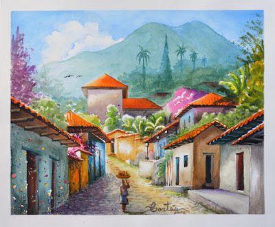 La Sabaneta, Yuscaran, Honduras. Acuarela de Hector R. Cortes - Acuarelista y Pintor hondureño