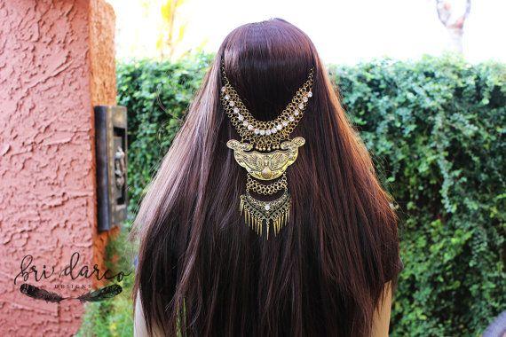 Tribal Hair Boho Hair Piece Gypsy Hair Chain Hair by BriDarco