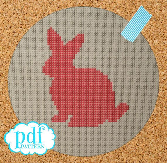Bunny Silhouette cross stitch, needlepoint, tapestry pattern. PDF, instant digital download,epattern. Easter rabbit.