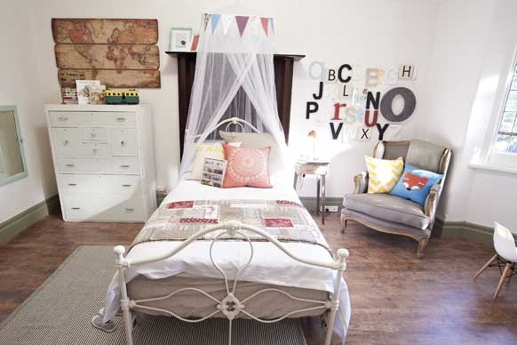 Love: alphabet wall, yellow chevron cushion, world map, bed frame, armchair  Don't like: chiffony curtain hanging over the bed   From The Block, Australia