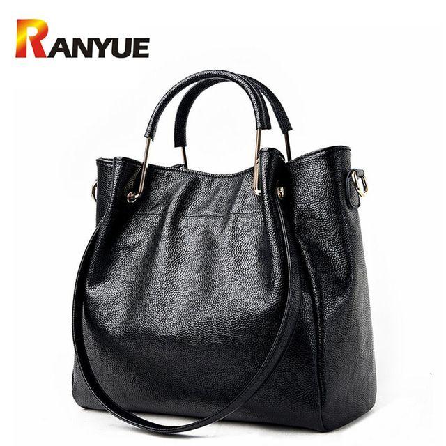 Best Value $29.89, Buy Women Genuine Leather Handbags Famous Brand Tote Bag Designer Handbag Spring Female Messenger Crossbody Bag For Women Bolsos Sac