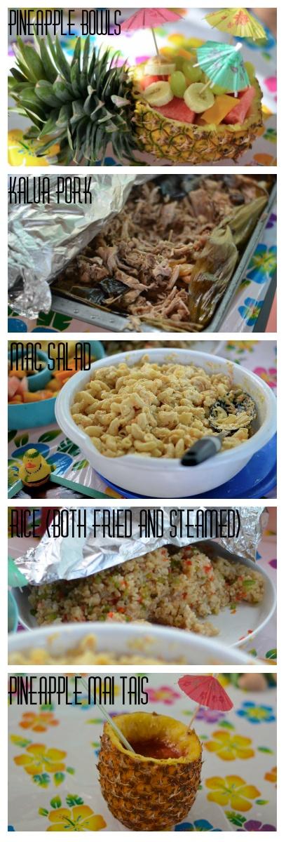 Luau Food- Pineapple Bowls, Kalua Pork, Mac Salad, Rice