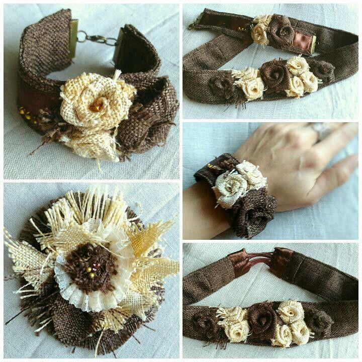 Цветы из мешковины. Браслет, ободок и брошь.   Burlap flowers. Bracelet, hair band and brooche.  #handmade #burlap #burlapflower #fabricflower #хендмейд #мешковина #цветыизмешковины