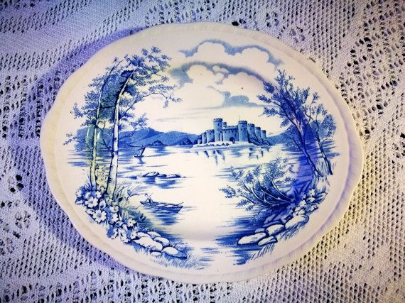 Blue and White china, English china, Alfred Meakin Queens Castle pattern in blue serving plate dish, large oval platter, Vintage china
