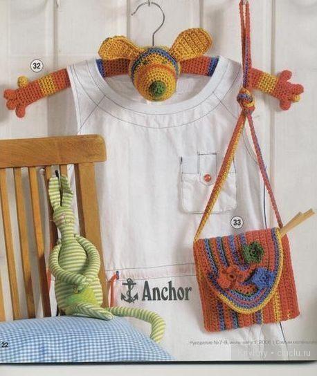 Детские вешалки для одежды - зверюшки своими руками, вязание крючком