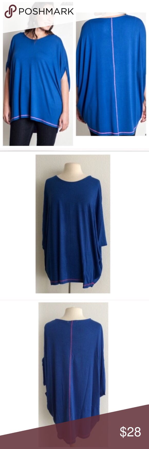"(Plus) Blue top Blue batwing top  Length- approx 32""  Materials- 65% cotton/ 35% polyester. This is a pretty thick top and it is extremely versatile. It can be dressed up or dressed down. Runs slightly large.  Availability- XL•1x • 3•2 ⭐️This item is brand new from manufacturer without tags.  NO TRADES Price is firm unless bundled Ask about bundle discounts Tops"