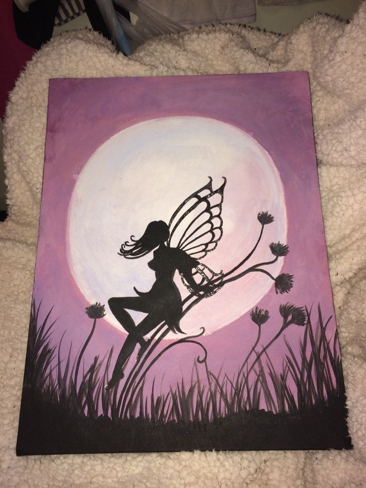 A fairy by the moon. Another one of my paintings