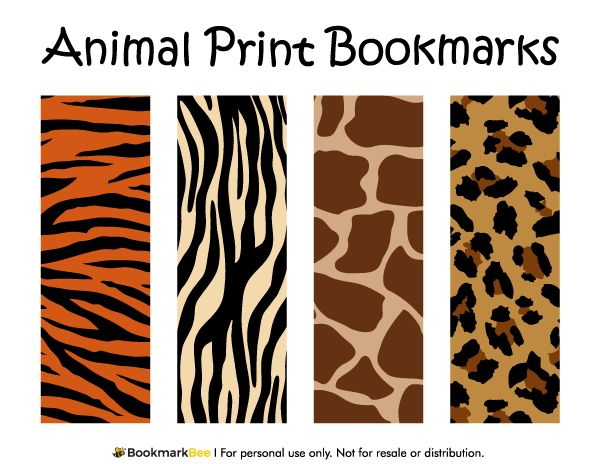 Free printable animal print bookmarks. The patterns include giraffe print, leopard print, tiger print, and zebra print. Download the PDF template at http://bookmarkbee.com/bookmark/animal-print/