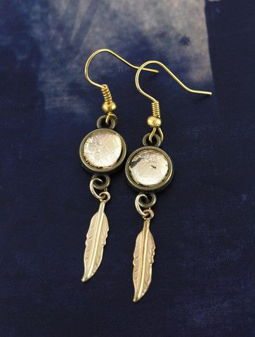 Gold Feather Earrings by Cloud Nine Creative  www.cloudninecreative.co.nz