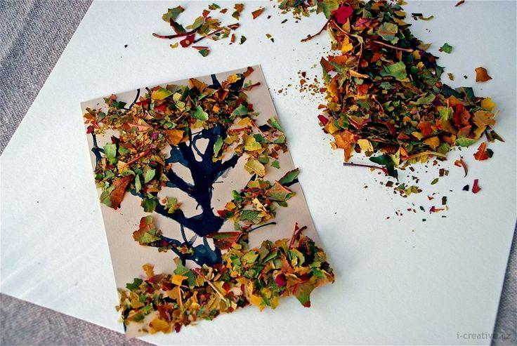 Podzimní strom - kombinace tuše a suchých listů | i-creative.cz - omalovánky k vytisknutí a výtvarné nápady