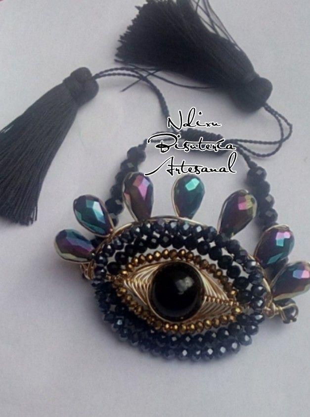 3e016bcd6900 Maxi pulsera ojo turco técnica de alambrismo