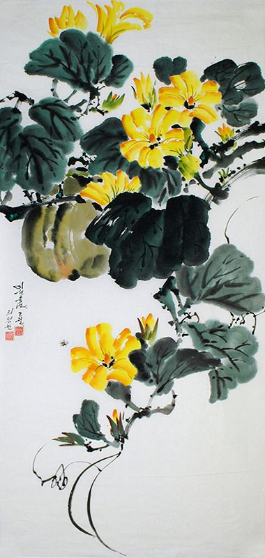 (North Korea) Pumpkin's Flowers by Lee Jeong-chan (1948- )