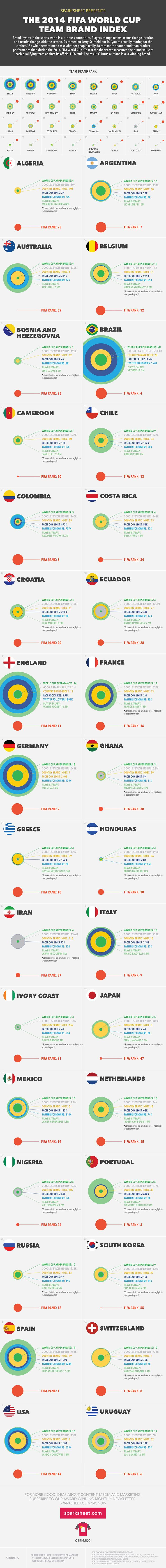 2014 FIFA World Cup Teams' Brand Ranking | #Infographic repinned by @Piktochart | Create yours at www.piktochart.com
