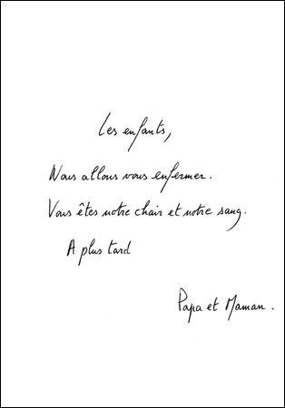 Eric Pougeau, Les enfants  (série de 33 lettres encadrées), 2004. Stylo sur papier, 21 x 15 cm. Courtesy Galerie Olivier Robert, Paris.