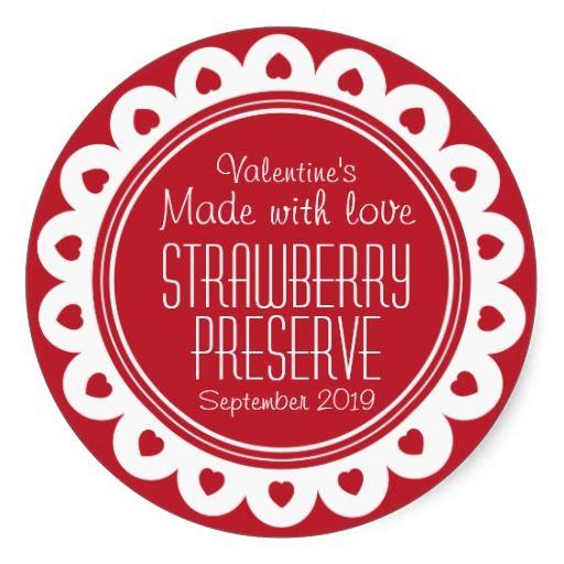 Round strawberry preserve or jam jar food label round stickers. Designed by www.sarahtrett.com