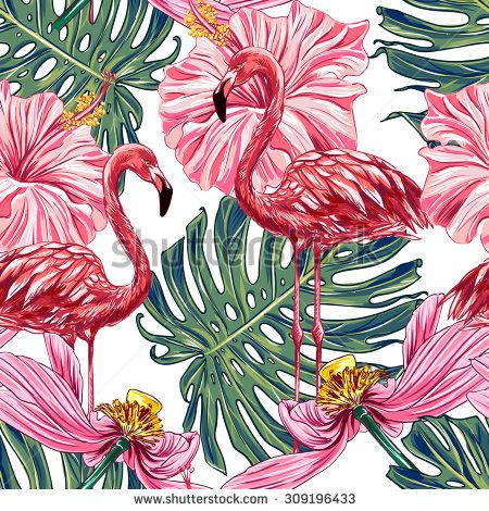 Pink Flamingos Tropical Flowers And Jungle Leaves Hibiscus Lotus Beautiful Seamless