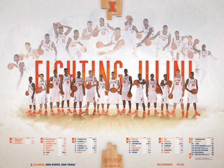 2013-14 illinois basketball poster. fighting illini