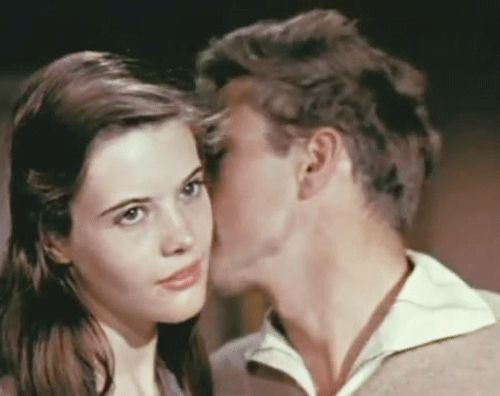 James Dean nuzzling up to Lois Smith's ear in a screen test for East of Eden. She doesn't even  know how lucky she is.