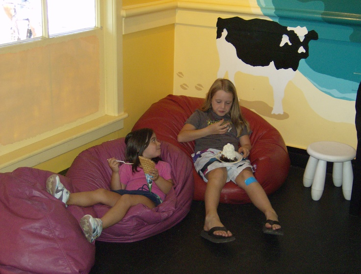 my granddaughter Hannah & Heidi having ice cream in Eastham, MA