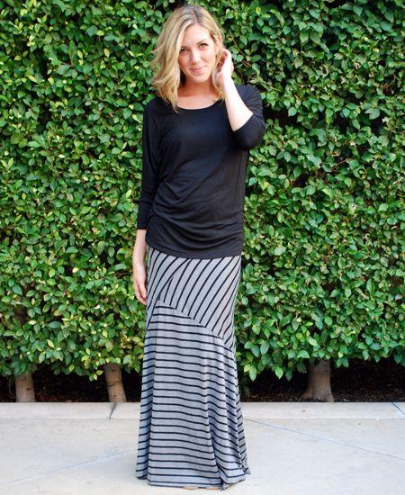 Grey Assymetrical Striped Maxi : Cute Aprons - Cute Dresses - Cute Maxi Skirts - Cute Gifts - Daisy Shoppe