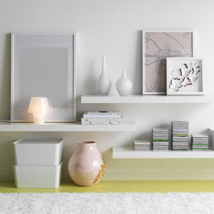 LACK white high-gloss wall shelves - facing wall when you come in the room