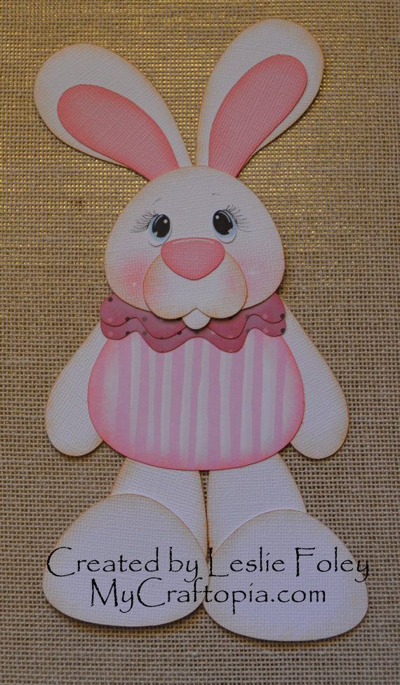 Standing  Bunny Easter Premade Scrapbooking by MyCraftopia on Etsy, $4.95