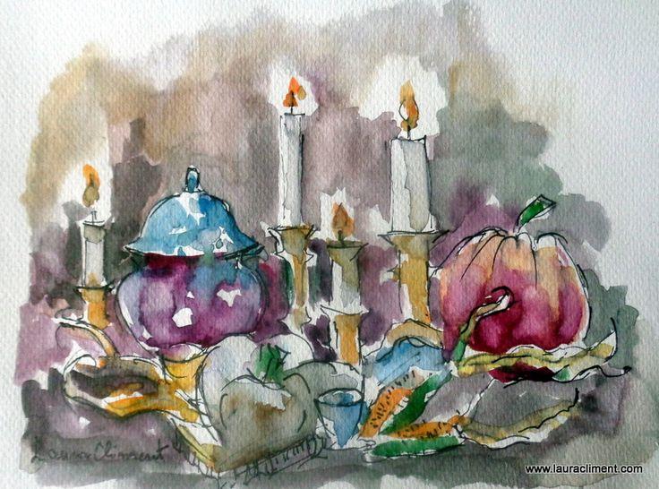 LAURA CLIMENT Candles. Pen Watercolor.