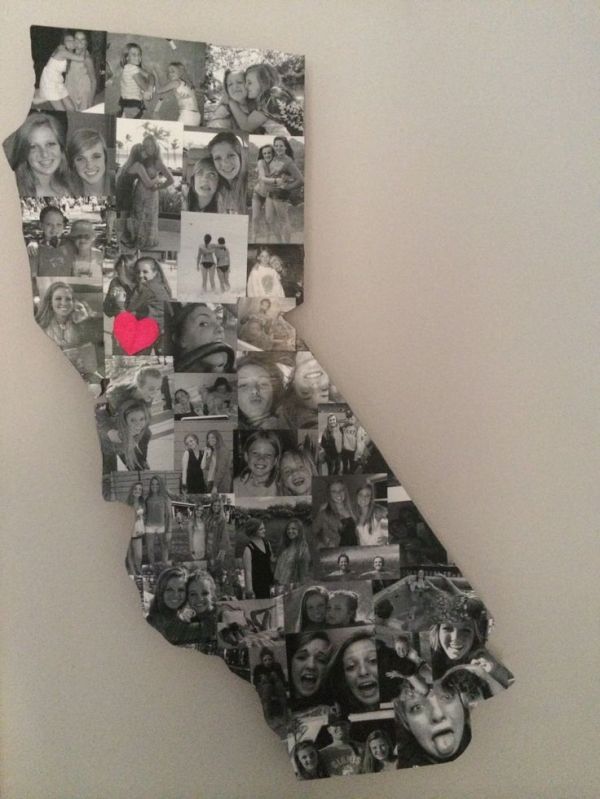 Fabulous idea for a friend going away to college in a different state! Make a picture collage of photos and modge podge them onto a piece of ply wood cut into the shape of his or her home state! Add a cute little heart representing their home town! Super fun and creative wall decor for a dormroom or bedroom by maritza