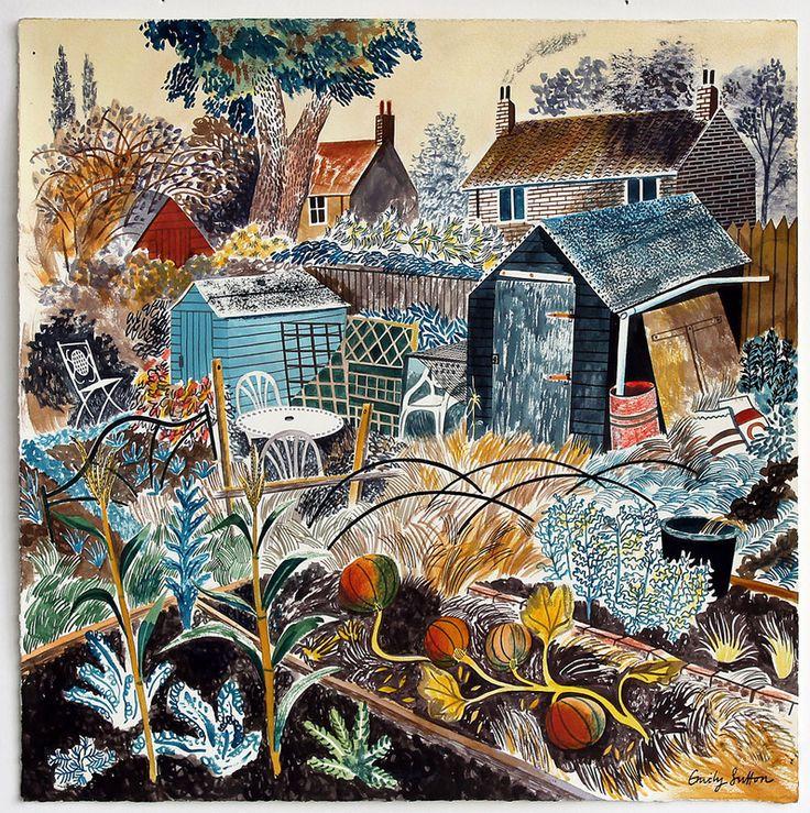 Emily Sutton: Pumpkin Patch, Watercolour, image size 32 x 32 cm