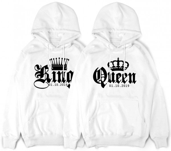 King Und Queen Pullover Mit Wunschdatum Und Krone Pullover Paar Pullover Pullover Hoodie
