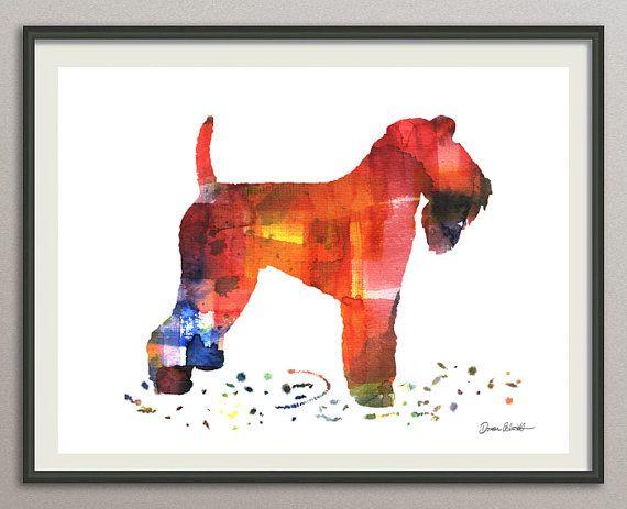 kerry blue terrier dog art print watercolor print  silhouette