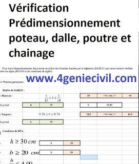 Exemple D Etude D Une Villa R 3 Fichier Excel Pour Predimensionnement Et Verification De Note De Calcul Poteau Cours Genie Civil Genie Civil Lecture De Plan