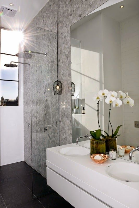 The Block Glasshouse - Ensuite reveals - mosaic hexagonal wall tiles #tiles Get this look at TILE junket #geelongwest