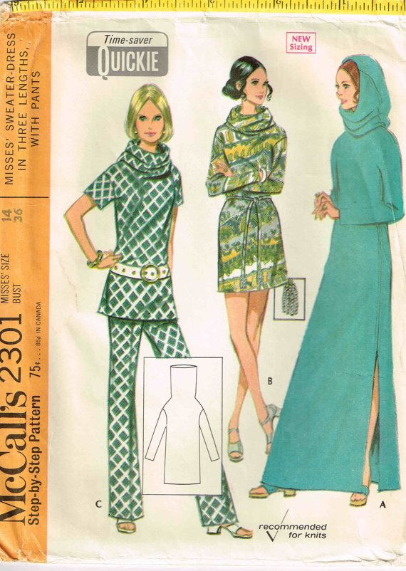 Sweater Maxi Dress Sewing Pattern Hooded Funnel Neckline Vintage 1970s McCalls 2301 Sewing Pattern by PeoplePackages