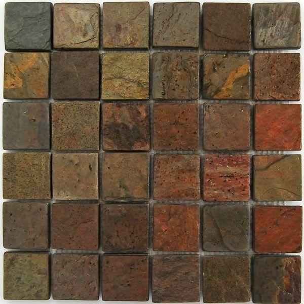 kitchen - copper slate tile backsplash | Kitchen remodel ...