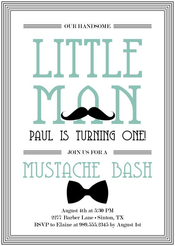 Mustache Bash Birthday Invitation