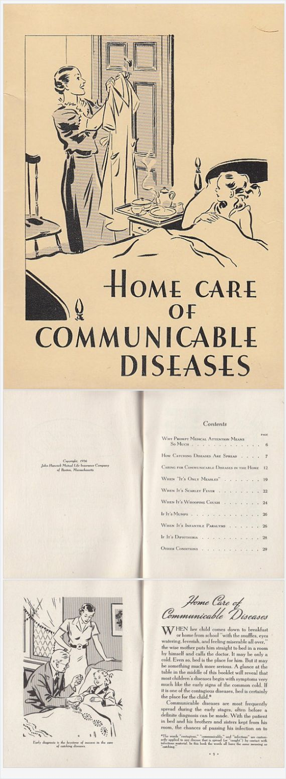Home Care of Communicable Diseases 1936 vintage Booklet by John Hancock Mutual Life Insurance Mumps Whooping Cough Scarlet Fever