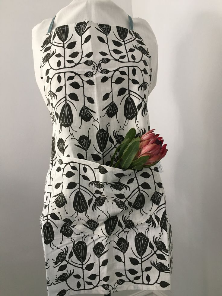 Charcoal Protea Apron by MaradadhiTextiles on Etsy