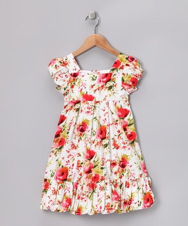 Take a look at this Hot Pink Floral Dou Dou Bubble Dress - Toddler by Alouette on #zulily today!