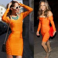 top quality orange long sleeve off shoulder hl bodycon 2017 new arrivals rayon bandage dress