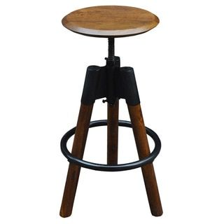 Maran Solid Wood/Iron Adjustable Stool - 17707315 - Overstock - Great Deals on Bar Stools - Mobile
