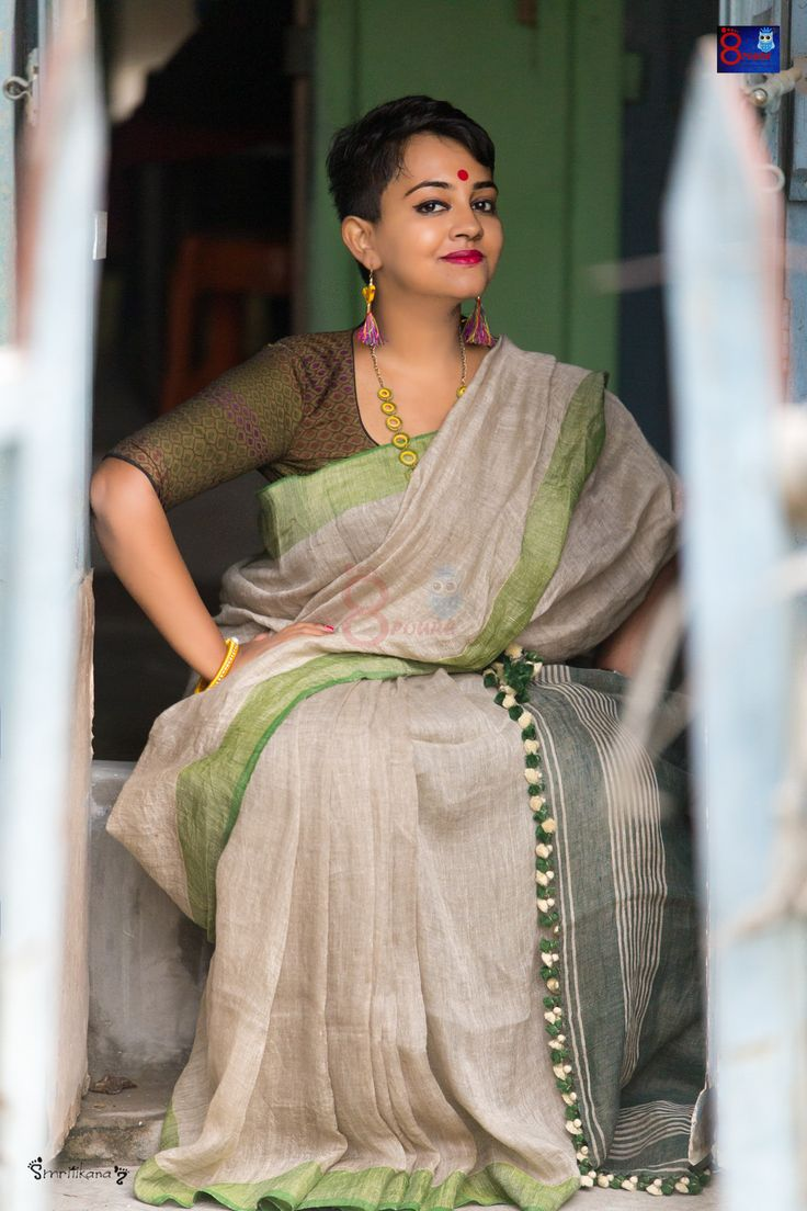 Buy Pure Handmade Linen By Linen Sarees (100 Counts)