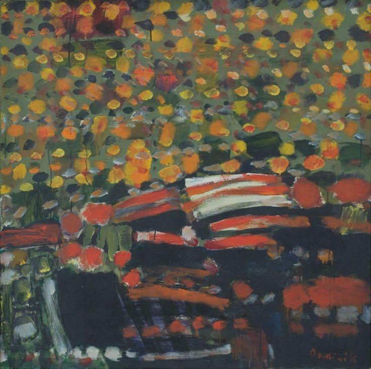 Kompozycja kwadratowa, 1965, olej na płótnie, 104 x 104 cm
