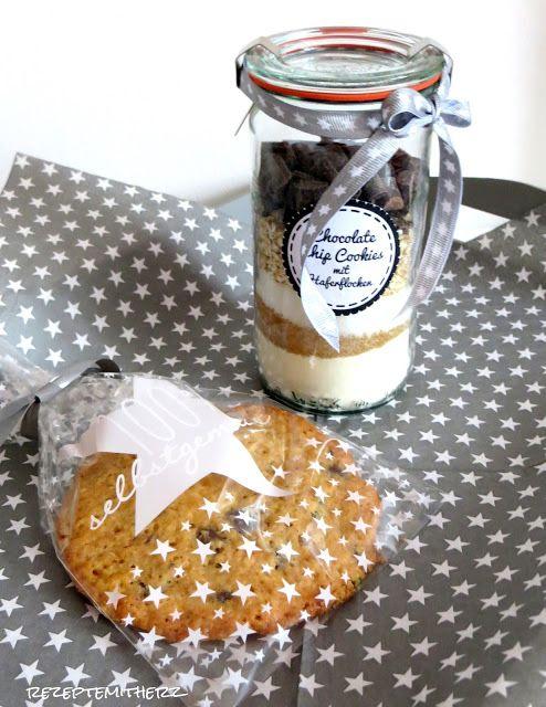 Rezepte mit Herz ♥: Backmischung im Glas : Chocolate Chip Cookies mit…